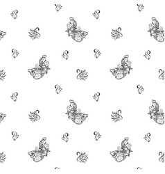 Seamless pattern with abstract swans vector