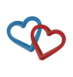 two hearts blue and red on white background vector image