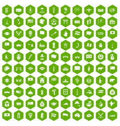 100 national flag icons hexagon green vector image