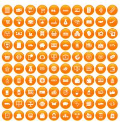 100 shopping icons set orange vector image