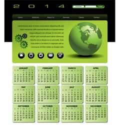 2014 globe Calendar vector image