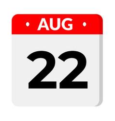 22 august calendar icon vector