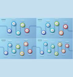 5 6 7 8 steps timeline charts infographic vector image