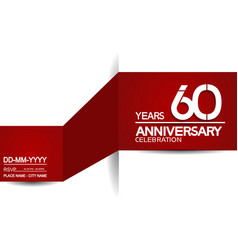 60 years anniversary design with red and white vector
