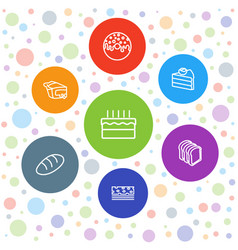 7 bakery icons vector image