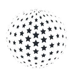 abstract 3d sphere with 5 point stars vector image