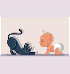 Bahaving a cat as pet cartoon vector