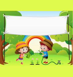 Banner template with kids watering plants vector