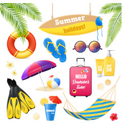 Beach vacation realistic items set vector