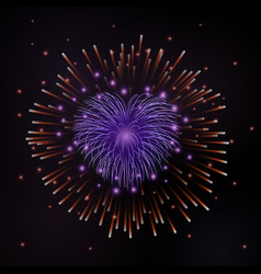 beautiful red heart-firework romantic firework vector image