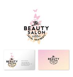 beauty salon logo watercolor butterflies vector image