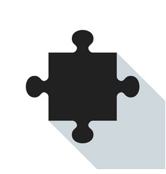 black puzzle piece vector image