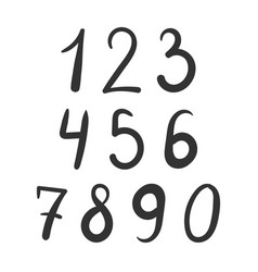 bold number font hand drawn vector image