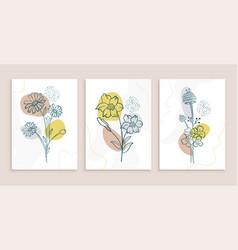 botanic line art flowers and leaves poster design vector image