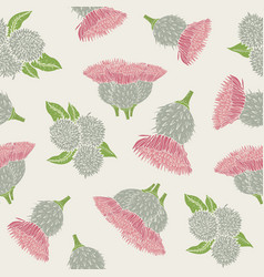 Botanical seamless pattern with burdock prickly vector