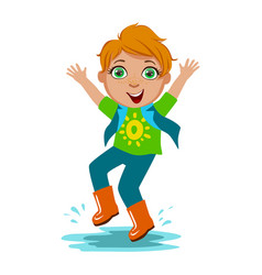 Boy in t-shirt and rubber boots kid in autumn vector