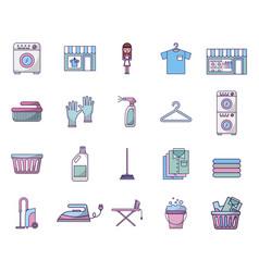 Bundle laundry service icons vector