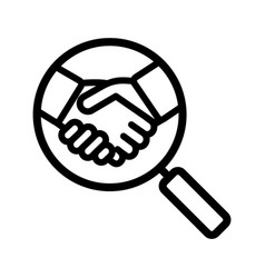 Business partner search linear icon vector