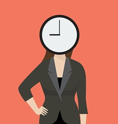 Business woman her head is a clock vector image