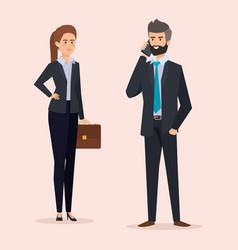 Businesswoman and businessman elegant executive vector