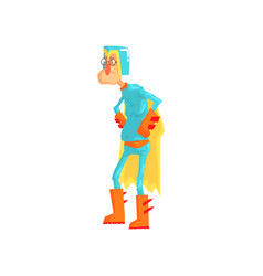 Cartoon elderly man dressed as superhero funny vector