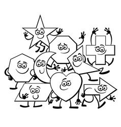cartoon geometric shapes coloring page vector image