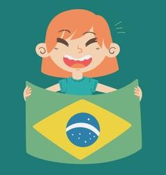 Cartoon Girl Holding a Brazil Flag vector