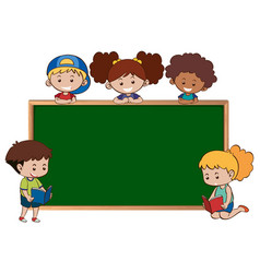 chalkboard with five happy kids vector image