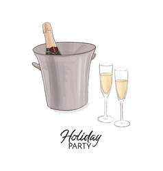 Champagne bottle with ice bucket vector