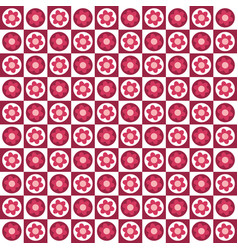 checkered pattern with flowers vector image