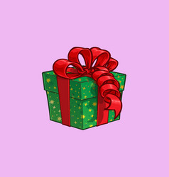 christmas cartoon icon - green present box with vector image