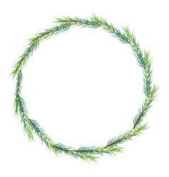 christmas minimal pine leafs wreath frame eps10 vector image