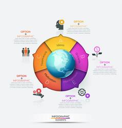 circular chart divided into 5 bright colored parts vector image