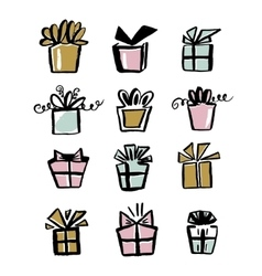 Collection of gift icons make with brush and ink vector