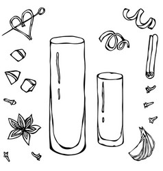Collins coctail glass hand drawn vector