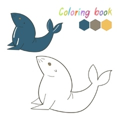 Coloring book seal kids layout for game vector