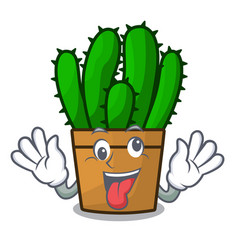 Crazy the beautiful spurge cactus plant cartoon vector
