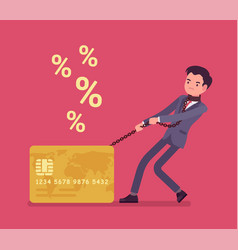 credit card and male cardholder percentage rate vector image