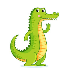 crocodile on white background in cartoon style vector image