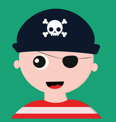 Cute face a pirate with a cap over green vector