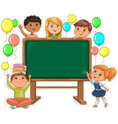 Cute kids and school board back to school vector