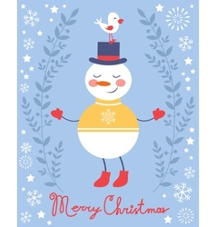 Cute snowman and bird Christmas card vector image