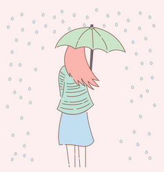 Cute women and rain design vector