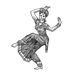 dancing indian woman in national dress hand drawn vector image