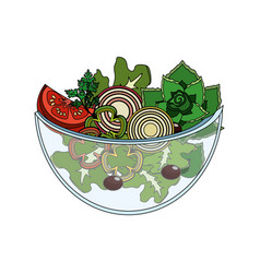 delicious fresh organ salad in the bowl vector image