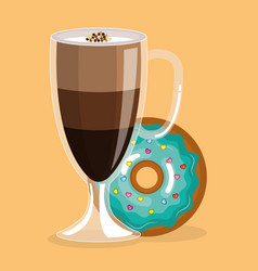 Delicious iced coffee cup and donuts vector