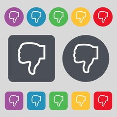 Dislike icon sign A set of 12 colored buttons Flat vector image