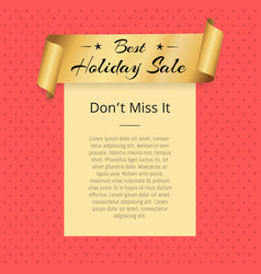 Dont miss best holiday sale poster golden ribbon vector