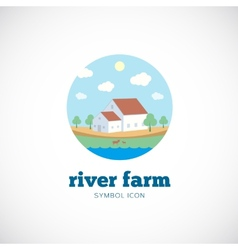 Eco River Farm Flat Style Concept Symbol Icon or vector