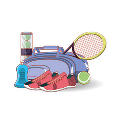elements to play tennis sport vector image